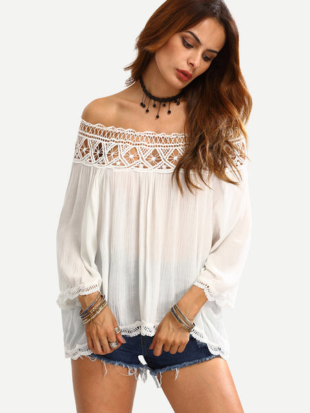 Trendtwo Women's Off The Shoulder Crochet Hollow Out Shirt