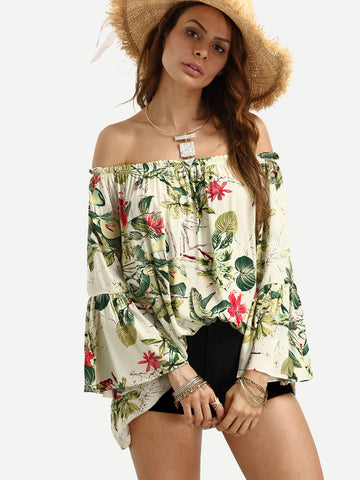 Women's Off The Shoulder Bell Sleeve Floral Print Top