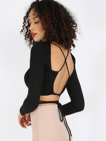 Women's Black Criss Cross Backless Crop Top
