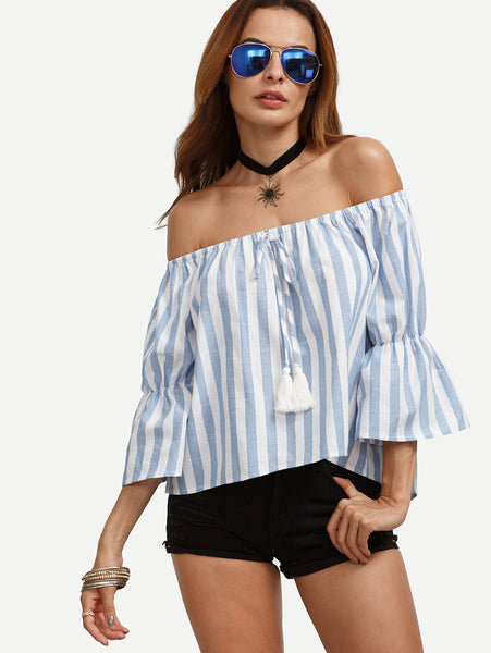 Trendtwo Women's Blue Striped Off The Shoulder Bell Sleeve Blouse
