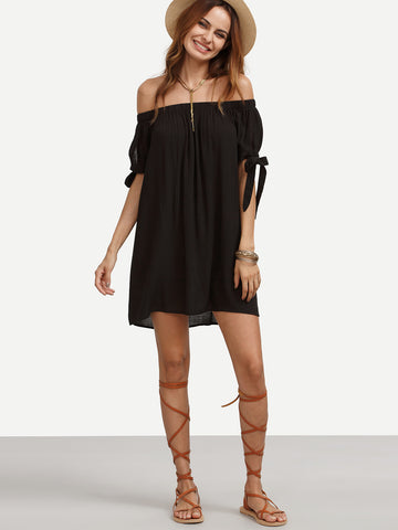 Women's Black Off The Shoulder Tie Cuff Shift Dress