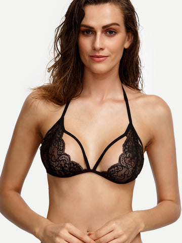 Trendtwo Women's Black Strappy Lace Bralet