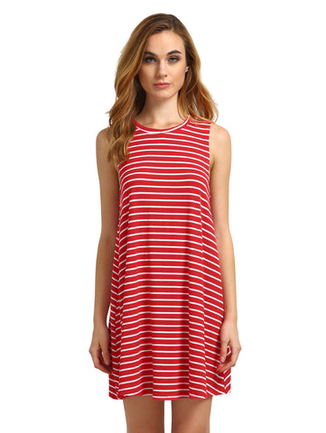 Women's Red White Striped Sleeveless Dress