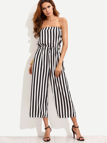 Women's Vertical Striped Drawstring Bandeau Jumpsuit