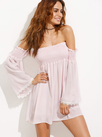 Trendtwo Women's Off The Shoulder Lace Shirred Dress