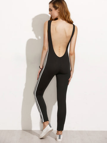 Women's Striped Side Open Back Legging Jumpsuit