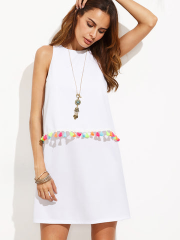 Women's White Tassel Trim Sleeveless Dress