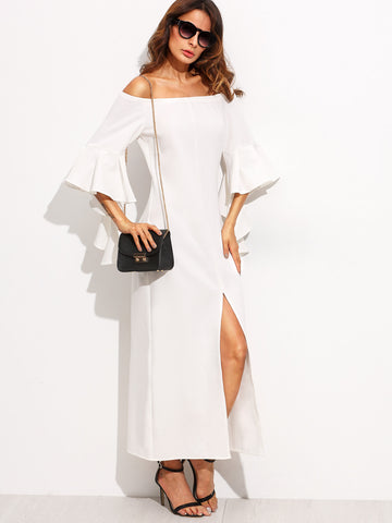 Women's Beige Ruffle Sleeve Off The Shoulder Dress