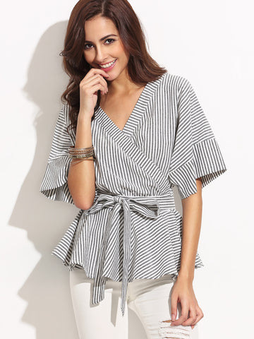 Women's Black And White Stripe Bow Wrapped Blouse