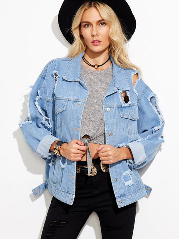 Women's Extreme Distressed Denim Boyfriend Jacket