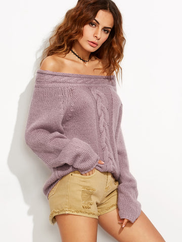 Women's Purple Cable Knit Off The Shoulder Sweater