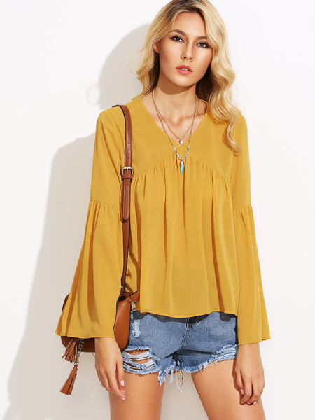 Women's Pleated Dip Hem Swing Smock Blouse