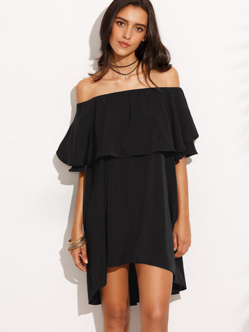 Trendtwo Women's Black Off The Shoulder Ruffle Dress