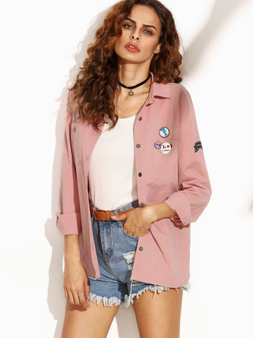 Women's Letter Print Back Shirt Jacket