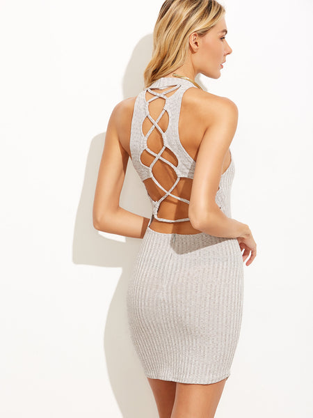 Trendtwo Women's Grey Caged Back Dress With Zipper