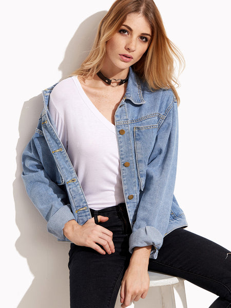 Trendtwo Women's Stonewash Blue Denim Jacket With Pockets