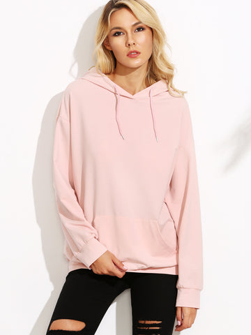 Women's Pink Drop Shoulder Hooded Sweatshirt With Pocket