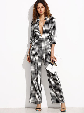 Women's Black Gingham Band Collar Deep V Neck Jumpsuit