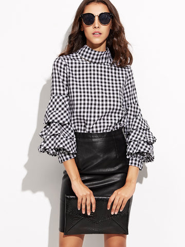 Trendtwo Women's Black Gingham Cutout Billow Sleeve Top