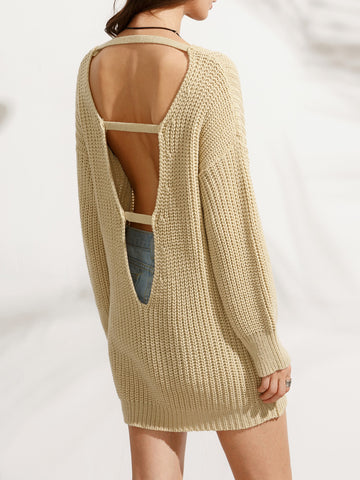 Trendtwo Women's Apricot Cut Out Back Long Sleeve Sweater