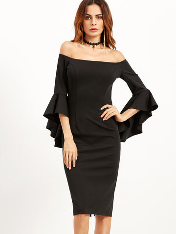 Trendtwo Women's Black Bell Sleeve Off The Shoulder Dress