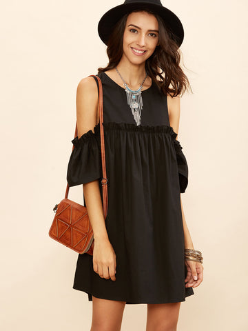 Women's Black Cold Shoulder Frill Babydoll Dress