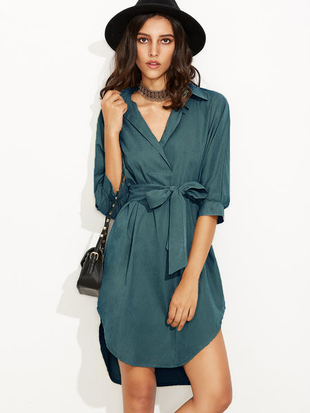 Trendtwo Women's Green Self Tie Shirt Dress