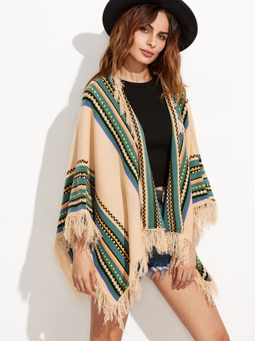 Trendtwo Women's Apricot Fringe Detail Poncho Sweater