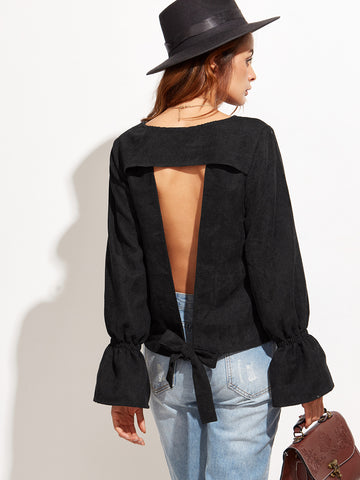Women's Black Bell Sleeve Open Back Blouse