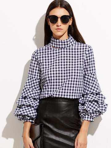 Trendtwo Women's Navy Gingham Cutout Billow Sleeve Blouse