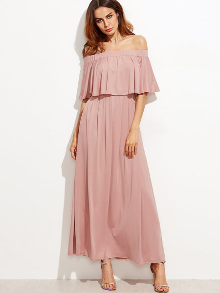 Women's Off The Shoulder Layered Ruffle Dress