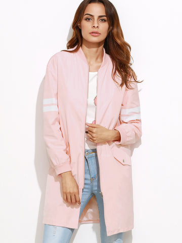 Women's Varsity Striped Sleeve Zip Up Bomber Coat