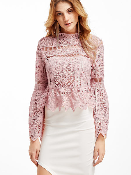 Trendtwo Women's Pink Lace Bell Sleeve Peplum Blouse