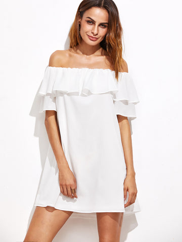Women's White Off The Shoulder Ruffle Dress