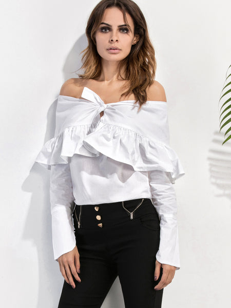 Women's White Off The Shoulder Ruffle Top