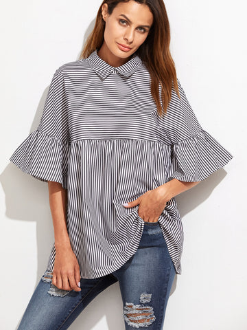 Women's Black And White Striped Ruffle Sleeve Babydoll Top