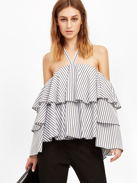 Trendtwo Women's Black And White Striped Off The Shoulder Ruffle Top