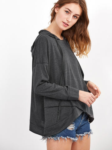 Women's Heather Grey Drop Shoulder Crossover Hoodie