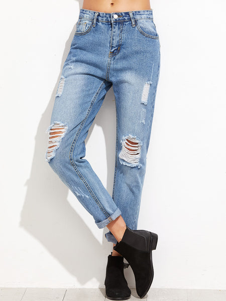 Women's Ripped Cuffed Casual Jeans