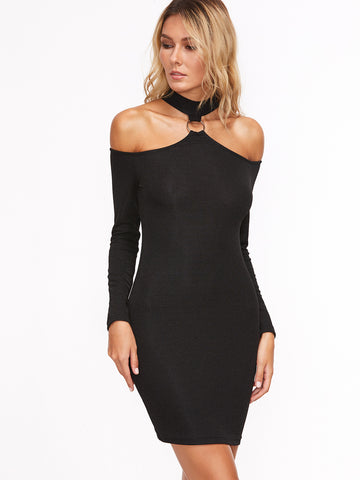 Trendtwo Women's Black Ring Detail Cold Shoulder Bodycon Dress