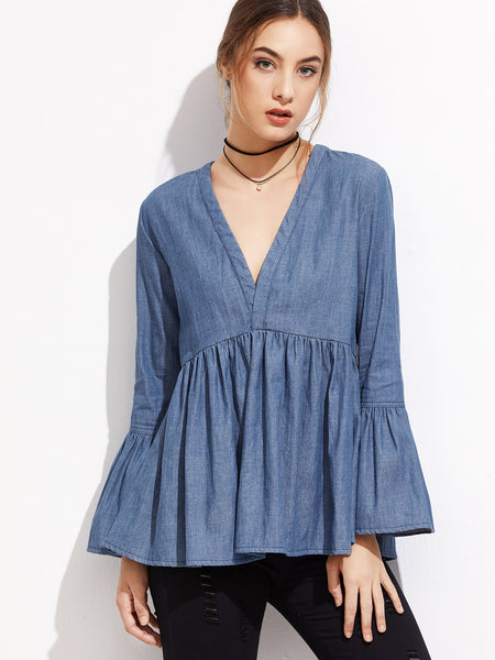 Trendtwo Women's Blue V Neck Bell Sleeve Denim Blouse