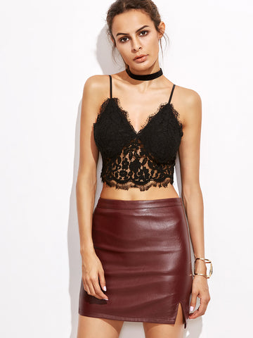 Women's Black Crop Floral Lace Cami Top