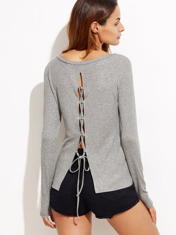 Women's Heather Grey Lace Up Back T-shirt