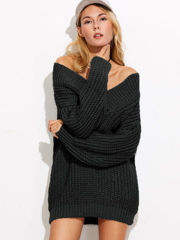 Women's Black V Neck Drop Shoulder Chunky Knit Sweater
