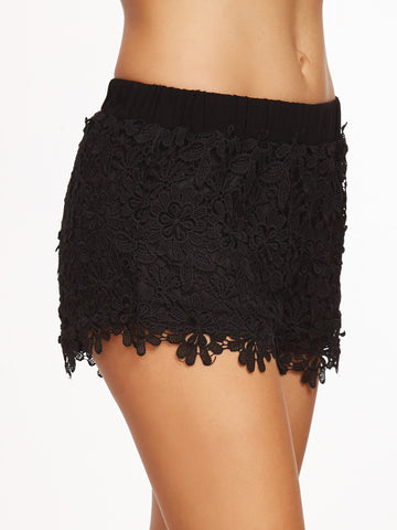 Women's Black Floral Embroidered Lace Shorts