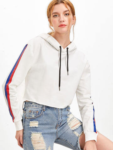 Trendtwo Women's White Striped Sleeve Crop Hoodie