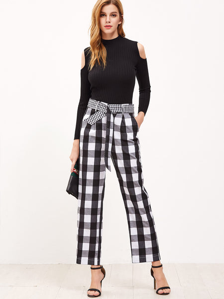 Women's Black And White Checkered Belted Wide Leg Pants