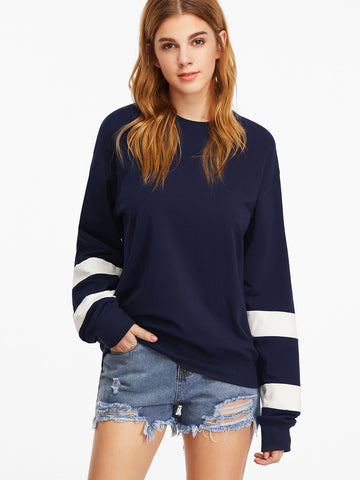 Women's Navy Drop Shoulder Striped Sleeve Sweatshirt