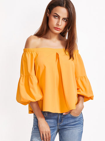 Trendtwo Women's Mustard Pleated Lantern Sleeve Top