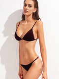 Women's Burgundy Triangle Velvet Bikini Set
